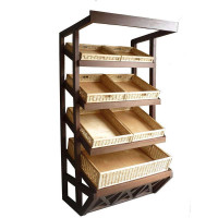 Деревянный пристенный стеллаж для выкладки товара