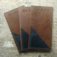 Деревянный чек-бук Асана 4 с кожаным кармашком