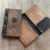 Деревянная папка-счет с кожаным кармашком для предчеков Элея в ресторан
