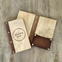 Деревянная папка-счет для предчеков Элея с кожаным корешком