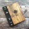 Деревянная меню-папка Элея с черным кожаным корешком